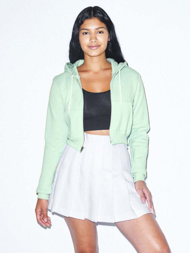 Flex Fleece Cropped Zip Hoodie (Menthe)