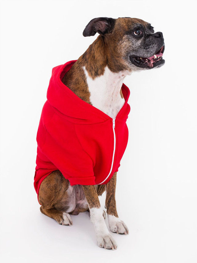Flex Fleece Dog Zip Hoodie (Red)