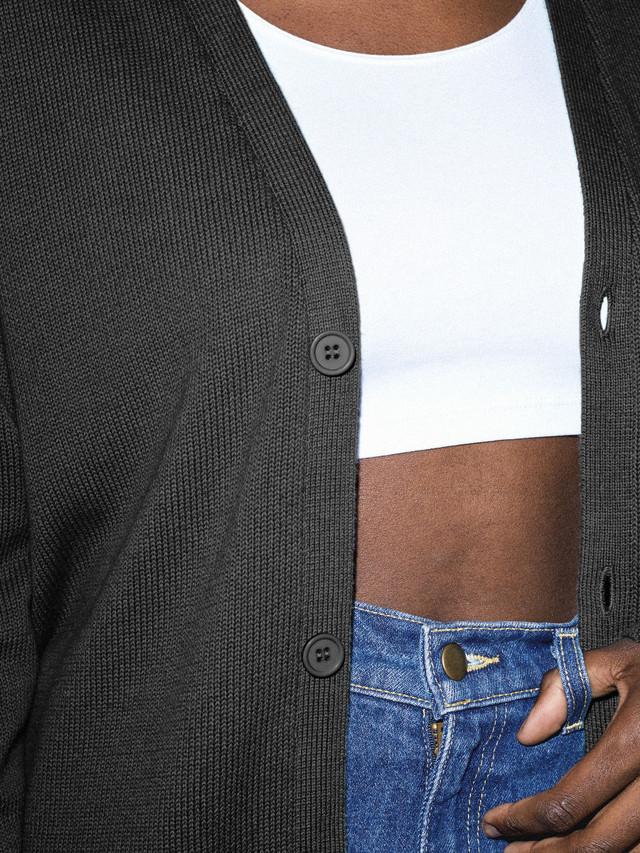 Unisex Basic Knit Cardigan (Black)