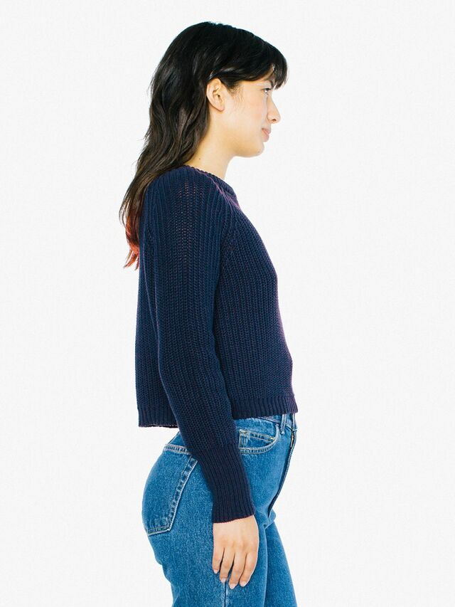 Cropped Fisherman Pullover (Navy)