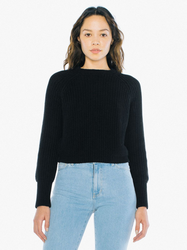Cropped Fisherman Pullover (Black)