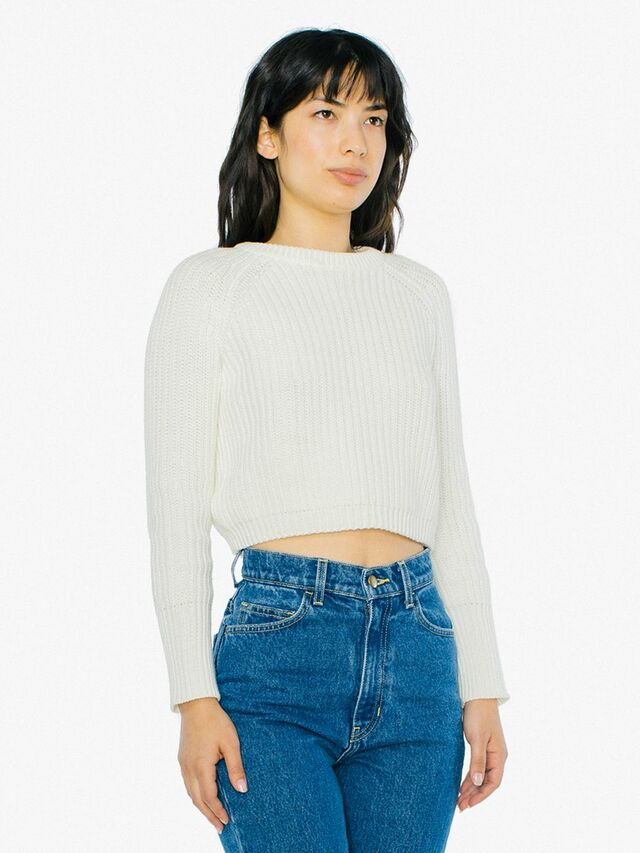 Cropped Fisherman Pullover (Ivory)