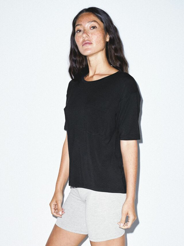 Mix Modal Pocket T-Shirt (Black)