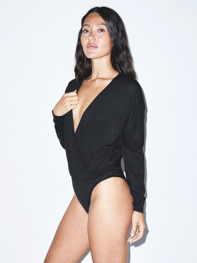 Mix Modal Long Sleeve Drape Bodysuit (Black)