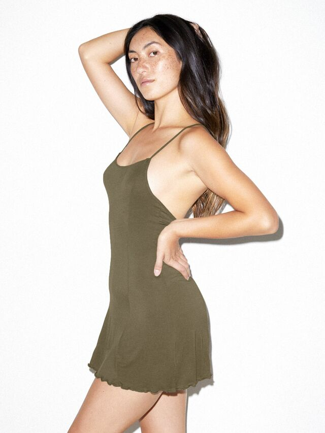 Mix Modal Crossback Slip Dress (Army)