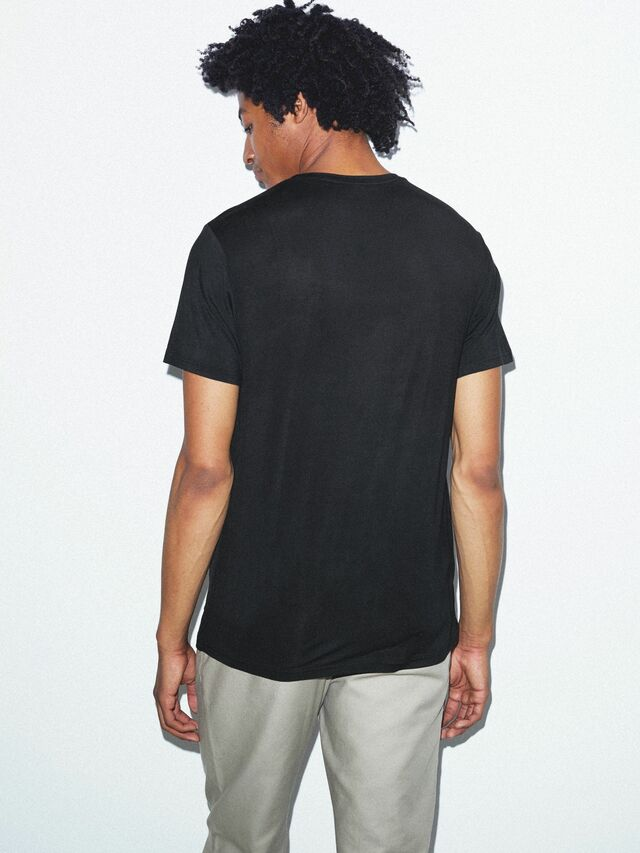 Mix Modal Short Sleeve T-Shirt (Black)