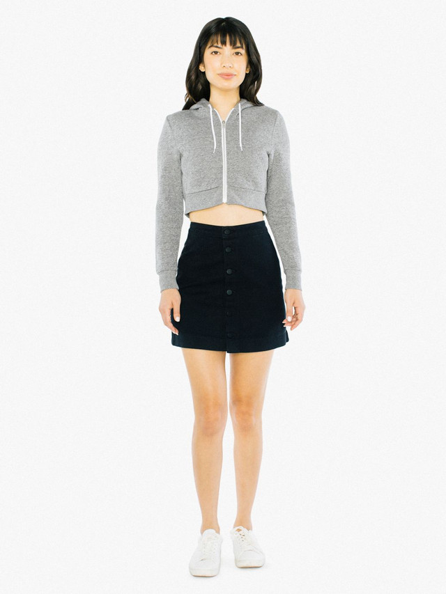 Peppered Fleece Cropped Hoodie (Peppered Grey)