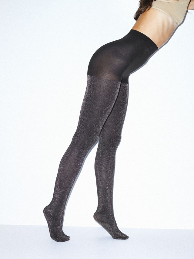 Metallic Pantyhose (BLACK W/SILVER)