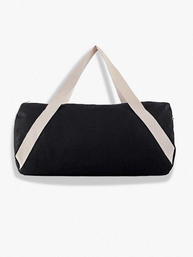 Cotton Canvas Gym Bag (Black/Natural)