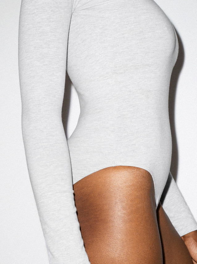 Cotton Spandex Long Sleeve Bodysuit (Heather Grey)