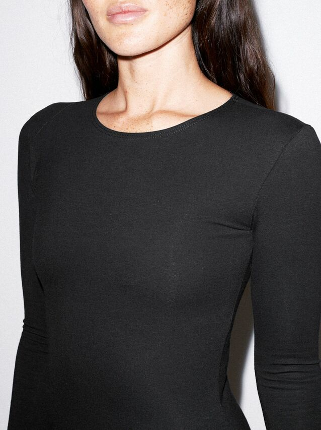 Cotton Spandex Long Sleeve Bodysuit (Black)