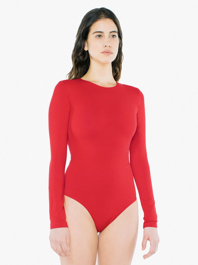 Cotton Spandex Long Sleeve Bodysuit (Red)