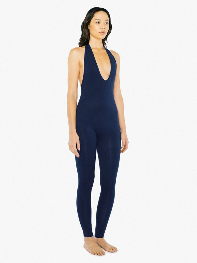 Cotton Spandex Halter Catsuit (Navy)