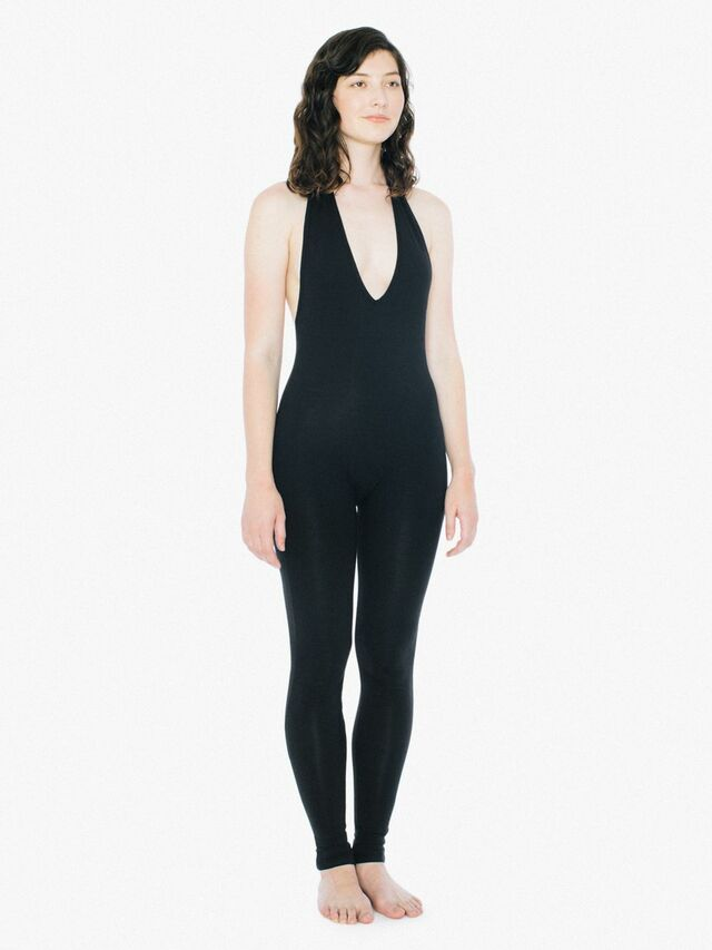 Cotton Spandex Halter Catsuit (Black)