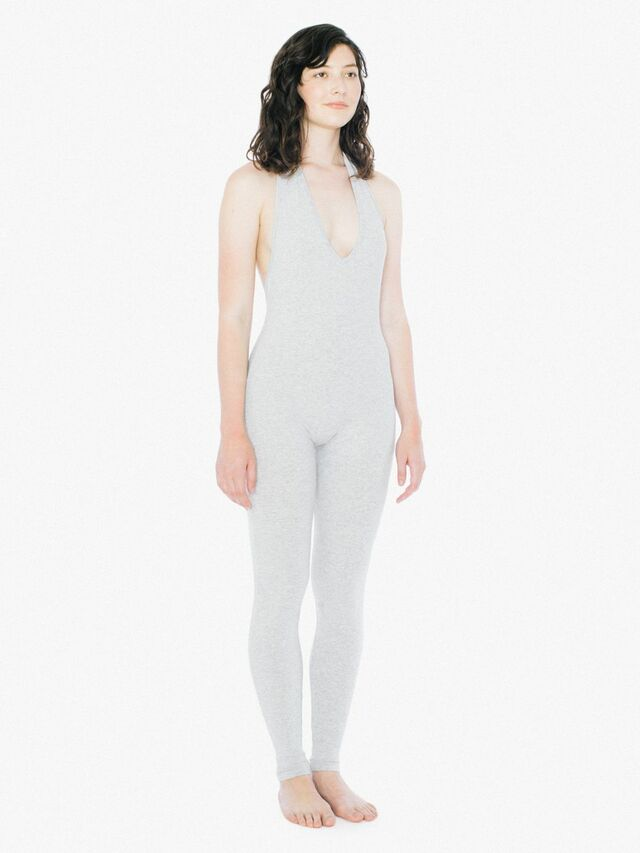 Cotton Spandex Halter Catsuit (Heather Grey)