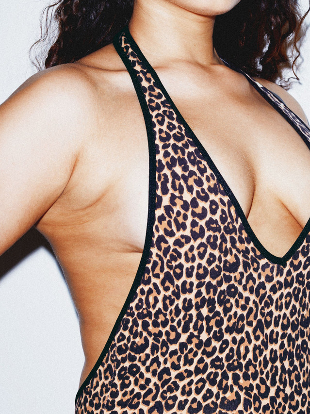 Cotton Spandex Halter Bodysuit (Cheetah)