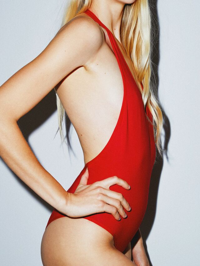 Cotton Spandex Halter Bodysuit (Red)