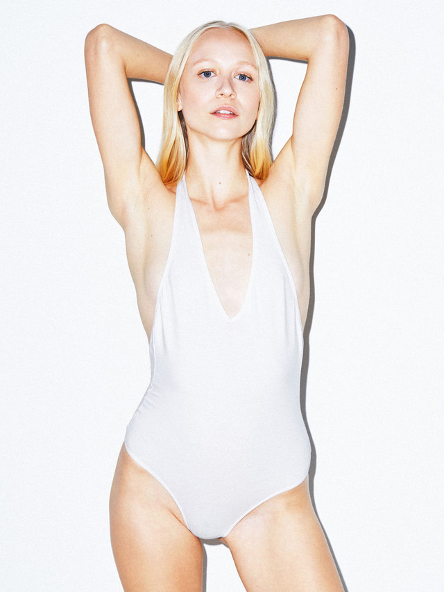 Cotton Spandex Halter Bodysuit (White)