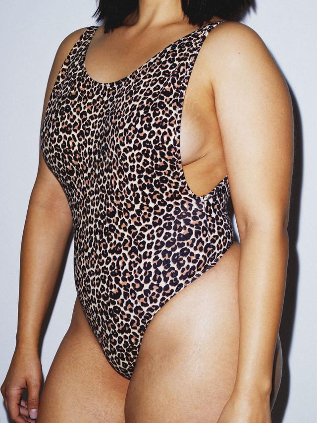 Cotton Spandex Deep Cut Bodysuit (Cheetah)
