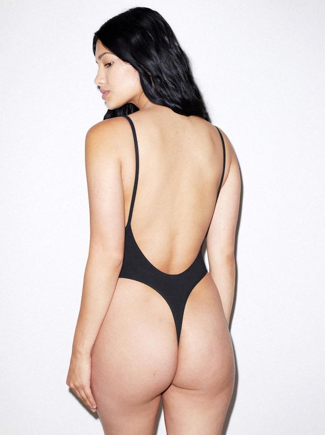 Cotton Spandex Deep Cut Bodysuit (Black)
