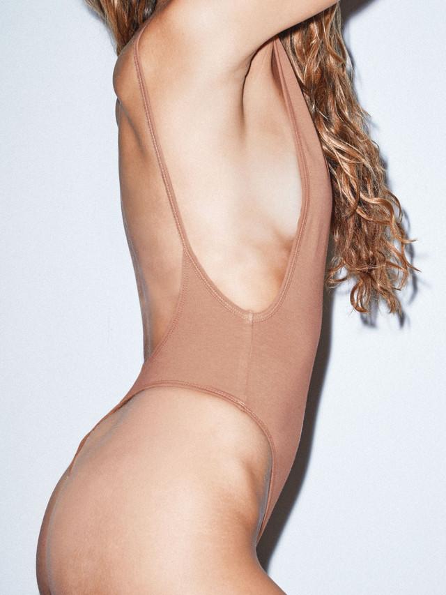 Cotton Spandex Deep Cut Bodysuit (Nude 6)