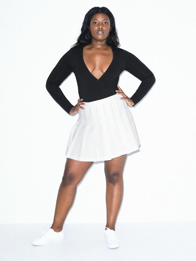 Cotton Spandex Cross V Bodysuit (Black)