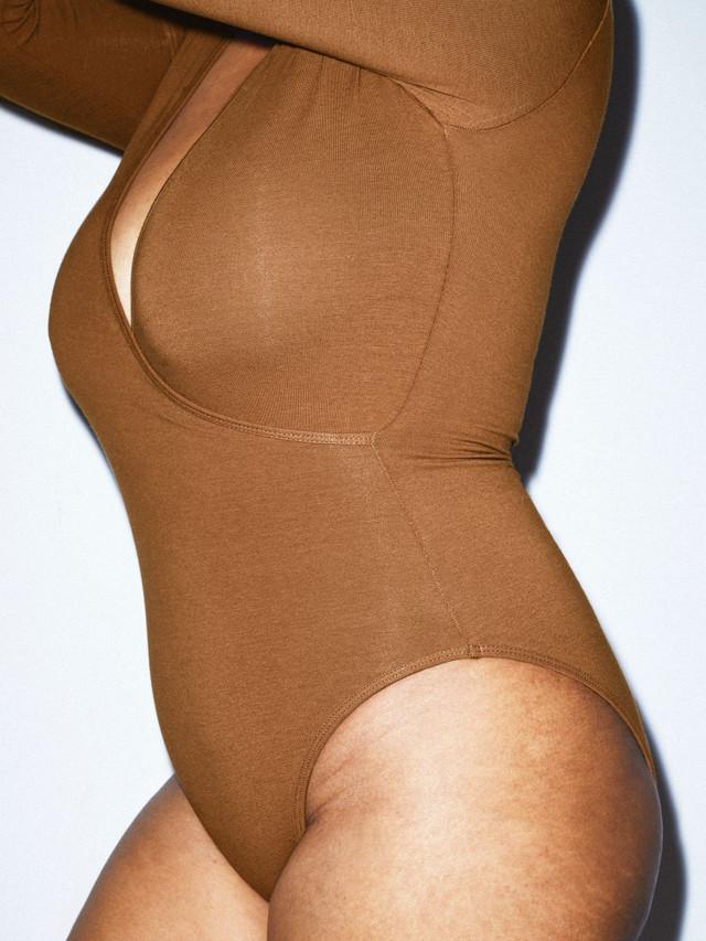 Cotton Spandex Cross V Bodysuit (Nude 4)