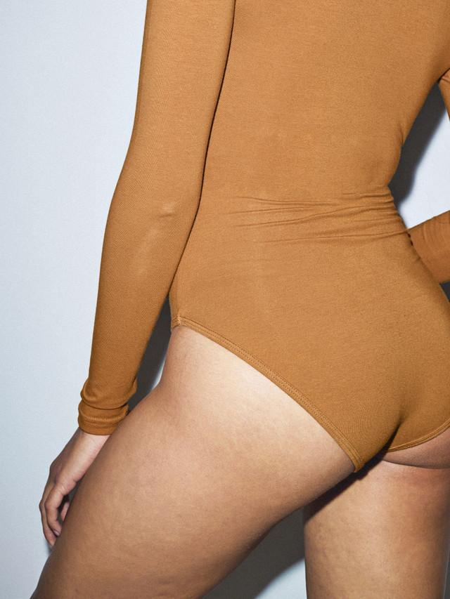 Cotton Spandex Cross V Bodysuit (Nude 5)
