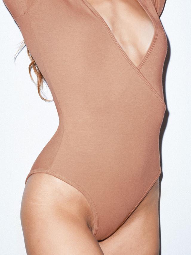 Cotton Spandex Cross V Bodysuit (Nude 6)