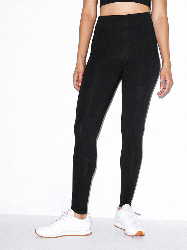 Cotton Spandex Jersey High-Waist Leggings (Black)