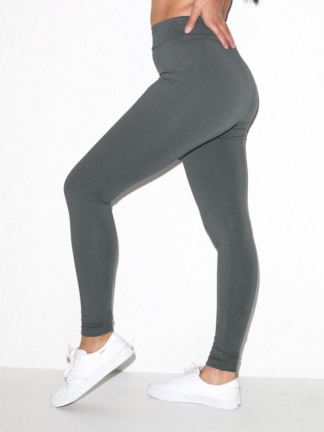 Cotton Spandex Jersey High-Waist Leggings (Asphalt)