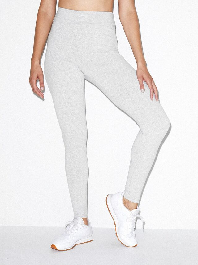 Cotton Spandex Jersey High-Waist Leggings (Heather Grey)
