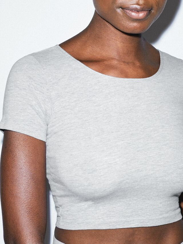 Cotton Spandex Jersey Crop T-Shirt (Heather Grey)