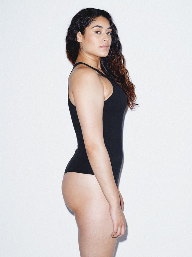 Cotton Spandex Sleeveless Bodysuit (Black)