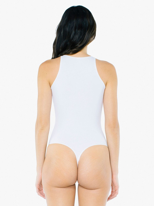 Cotton Spandex Sleeveless Bodysuit (White)