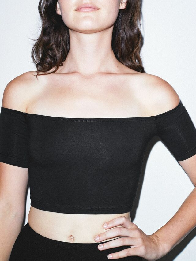 Cotton Spandex Off-Shoulder Top (Black)