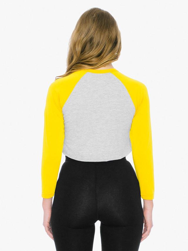 50/50 Cropped 3/4 Sleeve Raglan (Heather Grey/Gold)