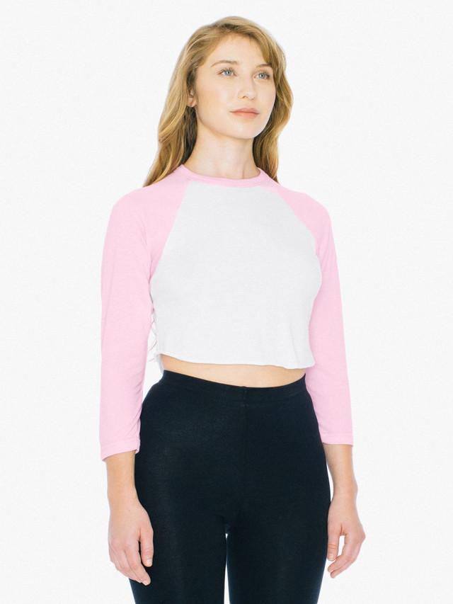 50/50 Cropped 3/4 Sleeve Raglan (White/Pink)