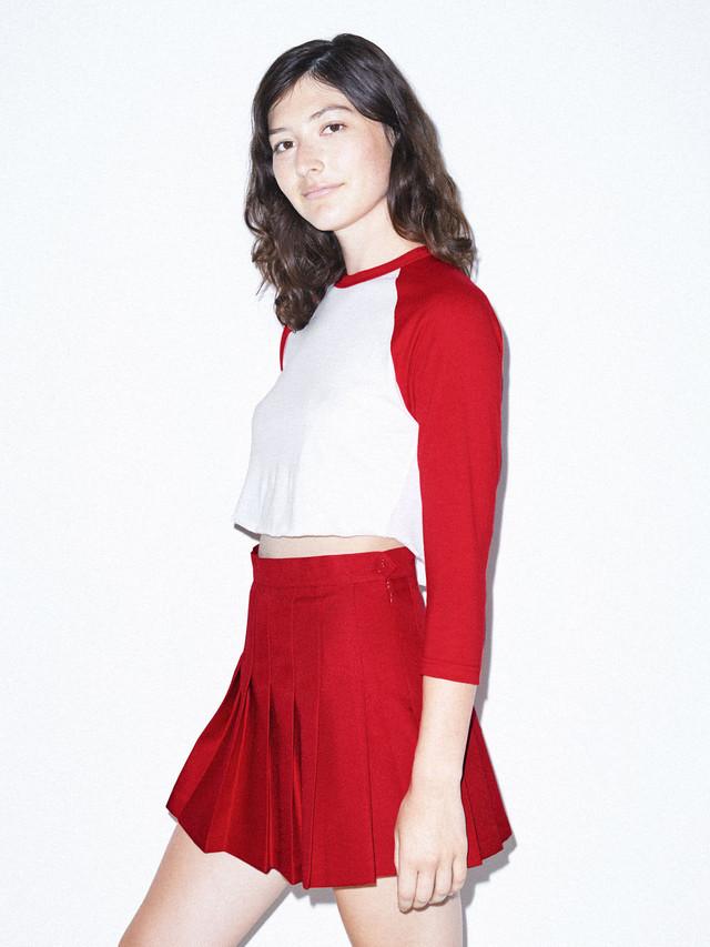 50/50 Cropped 3/4 Sleeve Raglan (White/Red)