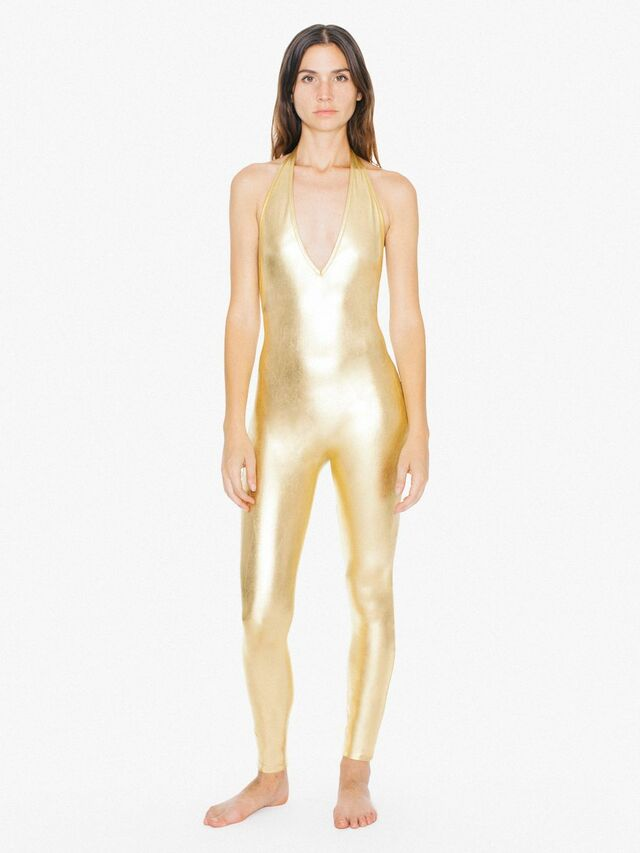Metallic Halter Catsuit (Gold)