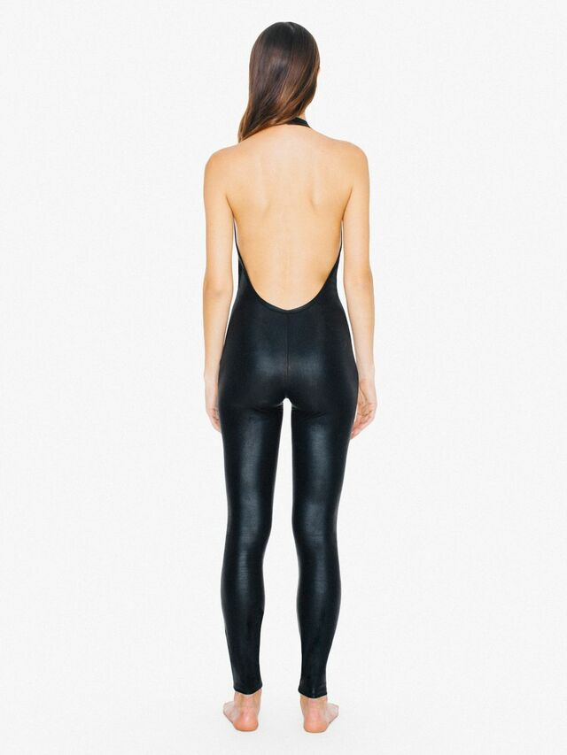 Metallic Halter Catsuit (Matte Black)
