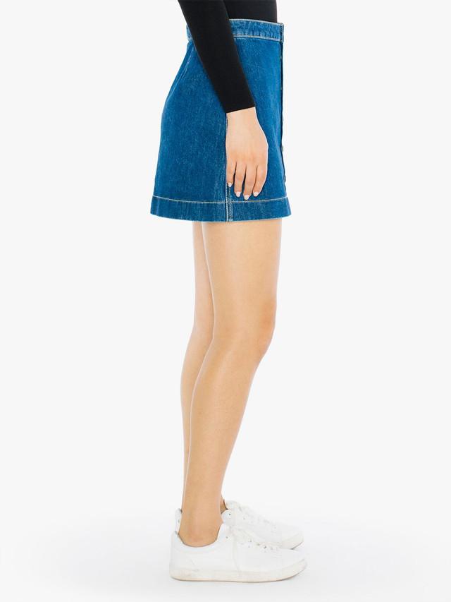 Denim Button Front A-Line Mini Skirt (Medium Wash)