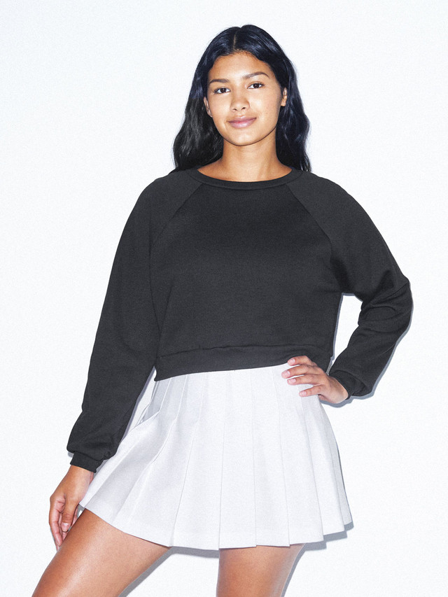 Flex Fleece Raglan Cropped Sweatshirt (Black)