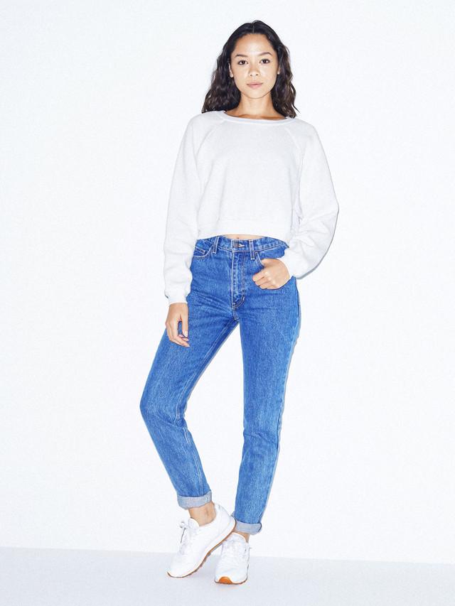 Flex Fleece Raglan Cropped Sweatshirt (White)