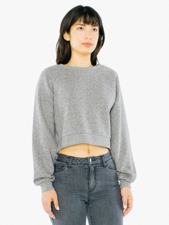 Peppered Fleece Cropped Pullover (Peppered Grey)