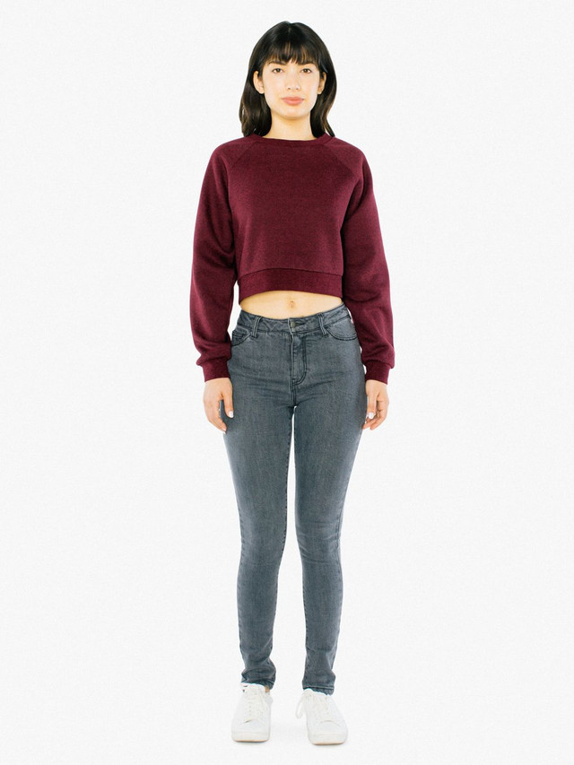 Peppered Fleece Cropped Pullover (Peppered Cranberry)