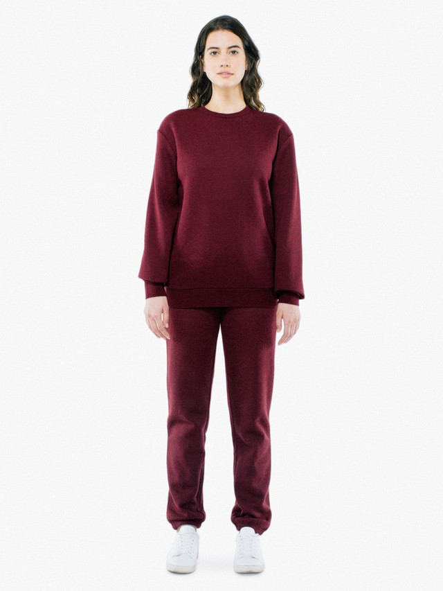 Unisex Peppered Fleece Pullover Crewneck (Peppered Cranberry)