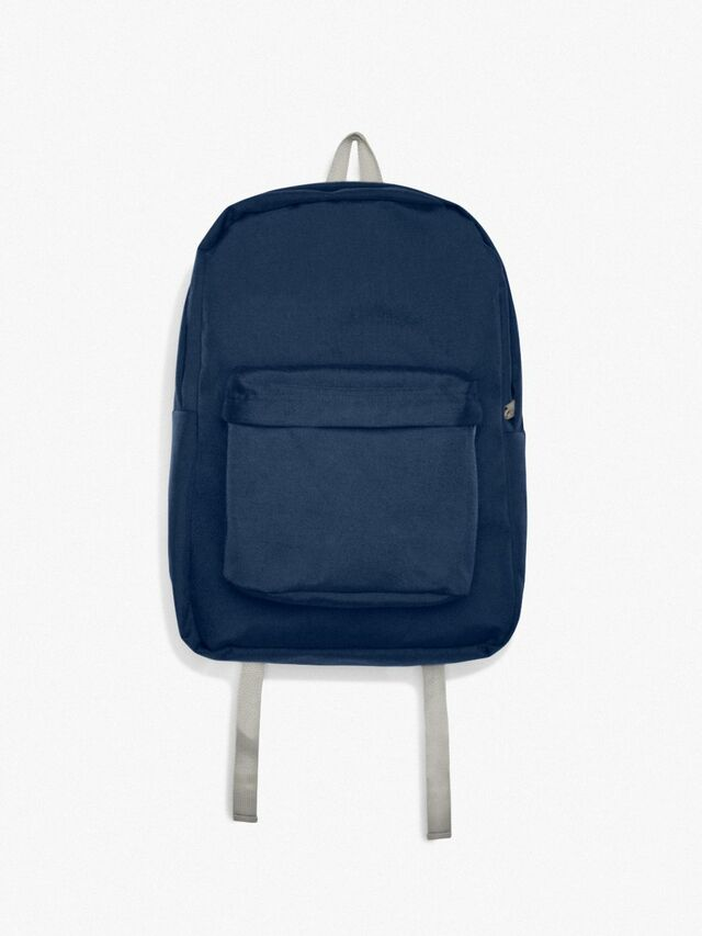 Nylon School Bag (Navy/Silver)