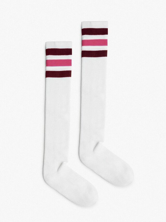 Unisex Stripe Knee-High Sock (White/Cranberry/Pink/Cranberry)