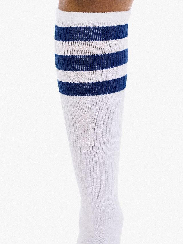 Unisex Stripe Knee-High Sock (White/Navy)